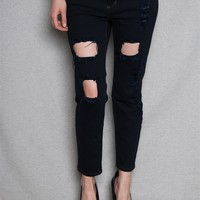 Sneak Peak Jeans Distressed Cutout Mid-Rise Jeans - Navy