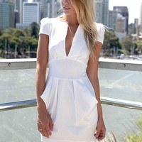 White Skater Dress with Deep V-Front & Pleated Detail