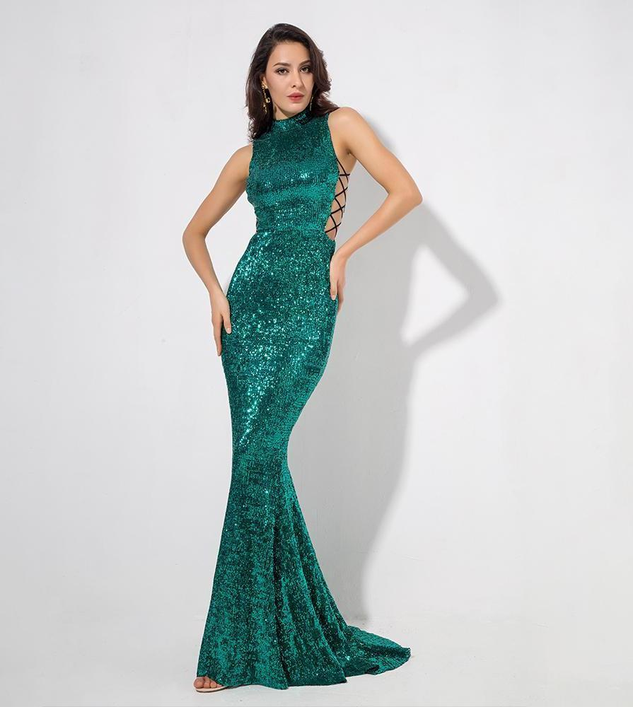 Image of Hema- Green Side Cut Out Sequins Long Dress