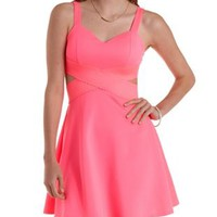 Neon Pink Bandage-Waist Cut-Out Skater Dress by Charlotte Russe