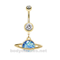 Golden Saturn Planet Opal Belly Button Ring Stainless Steel Body Jewelry