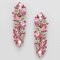 Floral Leaf Pink Rhinestone Drop Earrings