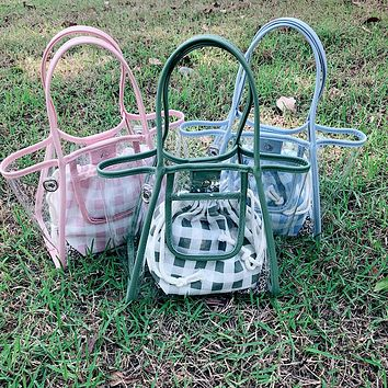 2020 New Products Women's Transparent Handbag Beach Bag Canvas Two-piece Bag