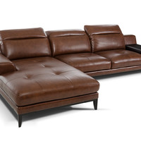 Divani Casa Myrtle Modern Brown Leather Sectional Sofa