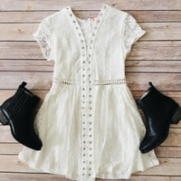 White Lace Up Crochet Dress