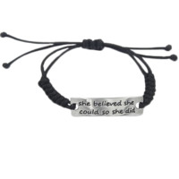 Hand Stamped She believed she could so she did Bracelet