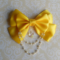 Sweet Lolita Hair clip or Brooch yellow bow with glass heart and white pearl beads fairy kei