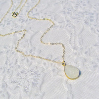 White Druzy Necklace, Delicate Druzy Pendant, 14k Gold Fill Layering Necklace, Wedding Necklace, Charm Pendant, Dainty Thin Chain