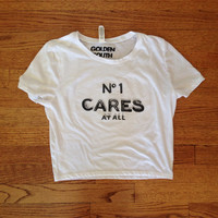 No one cares at all shirt Chanel number one perfume inspired Brandy Melville inspired golden youth graphic tee cropped tshirt