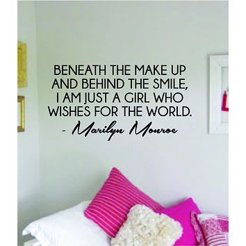 Marilyn Monroe Beneath the Make Up Quote Wall Decal Home Decor Bedroom Sticker Vinyl Art Girls Teen Inspirational Cute