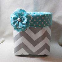 Gorgeous Gray Chevron Fabric Basket With Turquoise Polka Dot Liner and Detachable Fabric Flower Pin