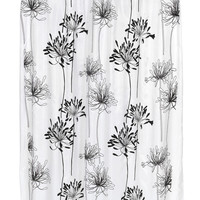 """Royal Bath Autumn Flowery Design Cologne Fabric Shower Curtain with Poly Taffeta Flocking in Black/White Size: 70"""" x 72"""""""