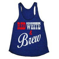 Red White Brew Fourth Of July Patriotic Triblend Tank Top