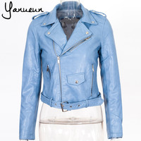 Colorful Apparel 2016 New Fashion Women  Faux Leather Jackets Lady Bomber Motorcycle Cool Outerwear Coat with Belt  CA573