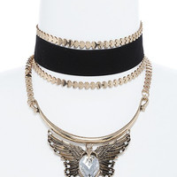 Crystal Accent Winged Charm Choker Necklace SET