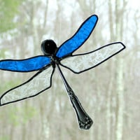 Sapphire blue dragonfly suncatcher, stained glass dragonfly, hanging dragonfly, Spring home decor, gift under 30, window art, nature