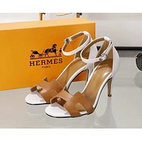 Hermes Trending Women Stylish Heels Sandal Shoes Brown I-ALS-XZ