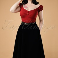 40s Rosie Quilted Velvet Swing Skirt in Black