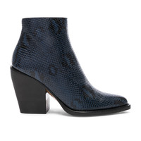 Chloe Rylee Python Print Leather Ankle Boots in Navy Ink | FWRD