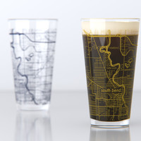 South Bend, IN - Notre Dame - College Town Map Pint Glass Set