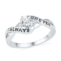 Diamond Accent Crossover Promise Ring in Sterling Silver (2 Lines)