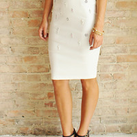 PEARLESCENT PENCIL SKIRT - Ivory