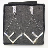 Fendi New fashion diamond letter long earring women Silver