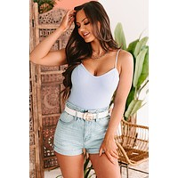 Get With The Program Sweetheart Knit Bodysuit (Sky Blue)