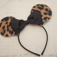 Minnie Mouse Ears, Leopard Print Minnie Mouse Ears, Mickey Mouse Ears, Minnie Mouse Headband, Hair bow, Hair Accessories, Photo Prop