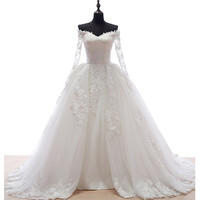 Sweetheart Appliques Ball Gown Off Shoulder Wedding Dress