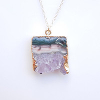 Druzy Amethyst Necklace - Rare Pink Color - OOAK Jewelry