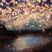 Love Wish Lanterns Stretched Canvas by Belle13 | Society6