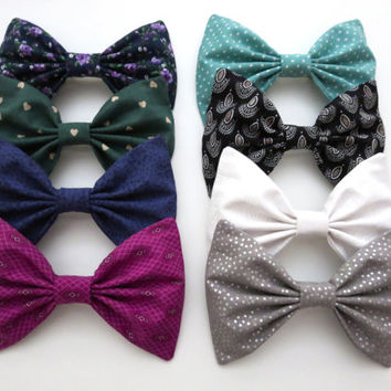 Winter Bow Set- Eight Large Hair Bows with Polka Dots, Hearts, Florals and Aztec
