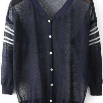 Navy V Neck Striped With Buttons Long Sleeve Cardigan