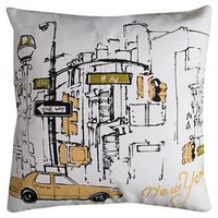 New York Taxi Throw Pillow White - (20x20) - Rizzy Home : Target