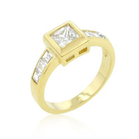 Simple Golden Square Bezel Cubic Zirconia Ring, size : 10