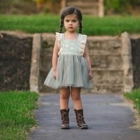 Luella Gray Lace & Tulle Bib Dress