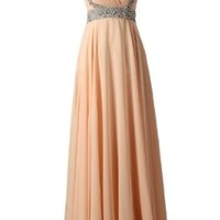 Dressystar Long Beading Ruched Long Chiffon Bridesmaid Prom Dresses for Women US Size 6 Peach