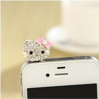 Angel Stars Finely Crafted Australian Crystals Ear Phone Jack Plug Anti-dust for Any Cellphones Ipad Iphone HTC Galaxy and Other Devices with 3.5 mm Size Charms--Hello Kitty Pink Bow Dangle Charm