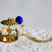 Carousel Necklace Blue Bead Merry Go Round Necklace Carnival Jewelry Vintage Inspired Carousel Horses - N298