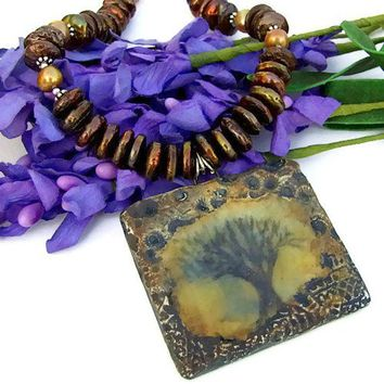 Tree of Life Pendant Necklace Handmade Pearls Brown Mystical Jewelry
