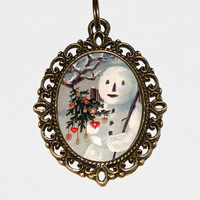 Snowman Necklace, Christmas Jewelry, Holiday Jewelry, Winter Necklace, Christmas Tree, Oval Pendant
