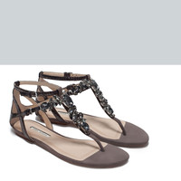 Jewelled leather flat sandals