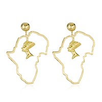 Goldtone Map of Africa with Nefertiti Dangle Earrings