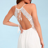 Good Grace White Lace Backless Dress