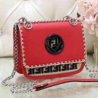 FENDI Women Fashion Leather Chain Crossbody Satchel Shoulder Bag