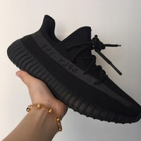 Yeezy 350V2 Boost Low SPLY Kanye West Black/Gray Solar West Merch Run Shoes SZ10