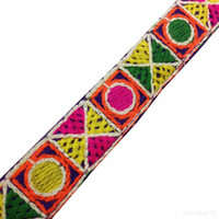 Hand Embroidered Sari Lace  / Trim / Lace - Kutch Embroidery Pattern Border in Hot Pink, Green, Red, Yellow