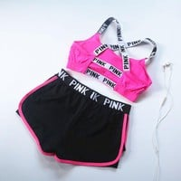 Victoria's Secret PINK 2017 summer sports bra shorts, women's jogging, shock yoga, fitness vest, underwear two sets