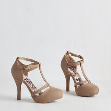 Minimal Snappy and Strappy Heel in Taupe by ModCloth